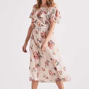 Lucky Pink Floral Off the Shoulder Midi Dress
